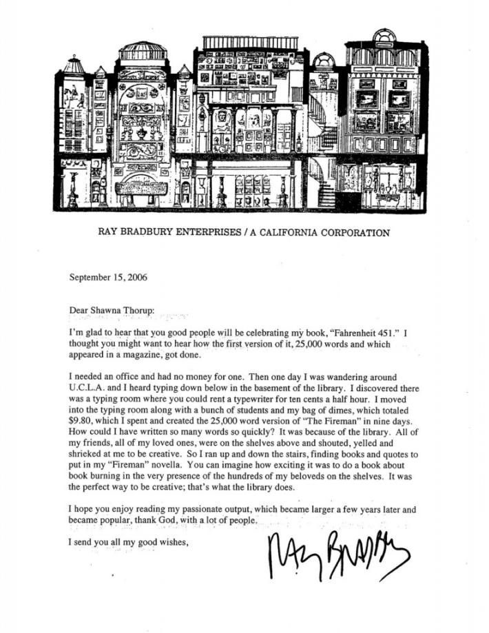 Ray Bradbury, Letra Salvaje, carta, Fahrenheit 451